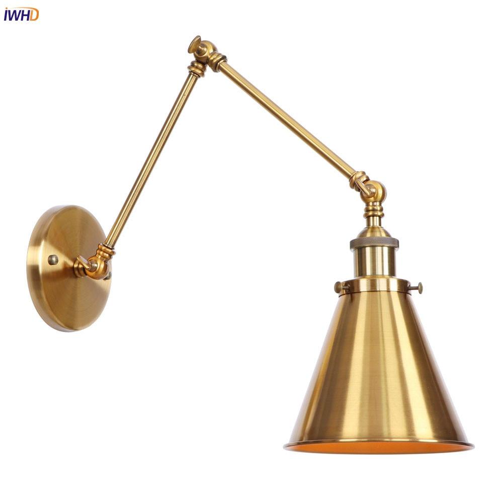 Настенное освещение IWHD в стиле индастриал, винтажное светодиодное бра золотого настенная лампа с длинным кронштейном в стиле лофт для спал...