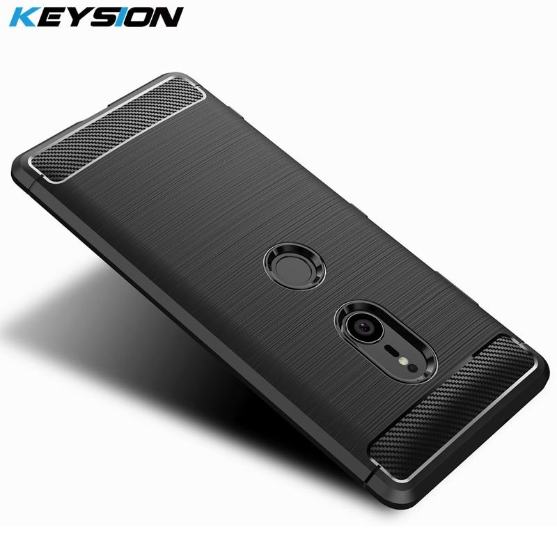 Funda de teléfono KEYSION para Sony Xperia XZ3 fibra de carbono suave TPU silicona cepillada Anti-golpe carcasa trasera para Sony Xperia XZ3