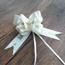 Blanco/rosa matrimonio estampado corazón amor grande 45mm Pull Bow cinta de lazo anudado fiesta boda coche puerta decoración regalo embalaje 100 Uds