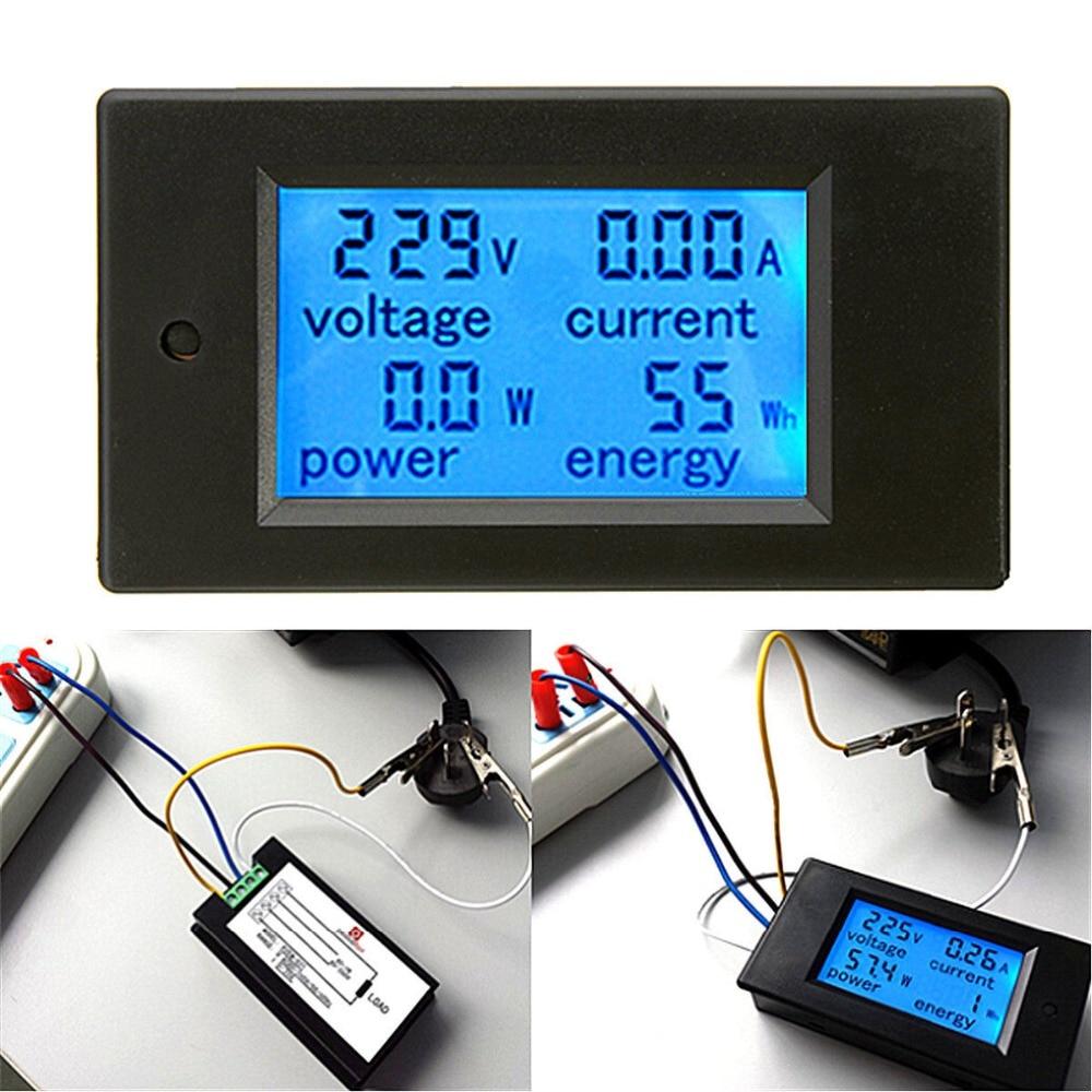 AC 20A измеритель мощности монитор Вольт Ампер кВтч Ватт цифровой комбо метр AC110V 220