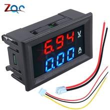 0.56 pouces Mini voltmètre numérique ampèremètre DC 100V 10A panneau ampèrevolt tension courant mètre testeur bleu rouge double LED affichage