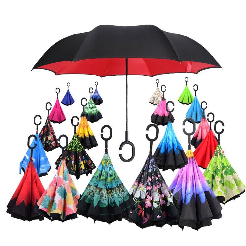 2021 Folding Long Shank Double Layer Inverted Umbrella Windproof Reverse C-Hook male golf umbrella reverse Umbrellas For Car