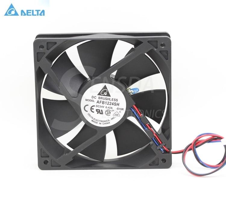 for delta AFB1224SH 12025 120mm 12cm DC 24V 0.42A tempreture sensor 3-pin server inverter cooling fans axial
