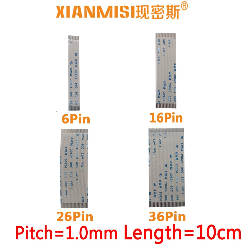 FFC/FPC Flat Flex Ribbon Cable 6Pin 16Pin 26Pin 36Pin Same Side 1.0mm Pitch AWM VW-1 20624 20798 80C 60V Length 10cm 5PCS