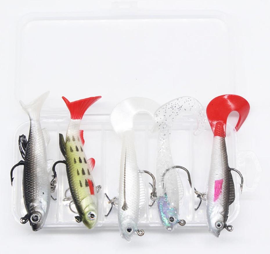 YINGTOUMAN 2 Juego/lote 9,3g/14g Multi-color cola/T cola paquete plomo pez Set Box cebo suave 5/caja señuelo nadadoramente realista
