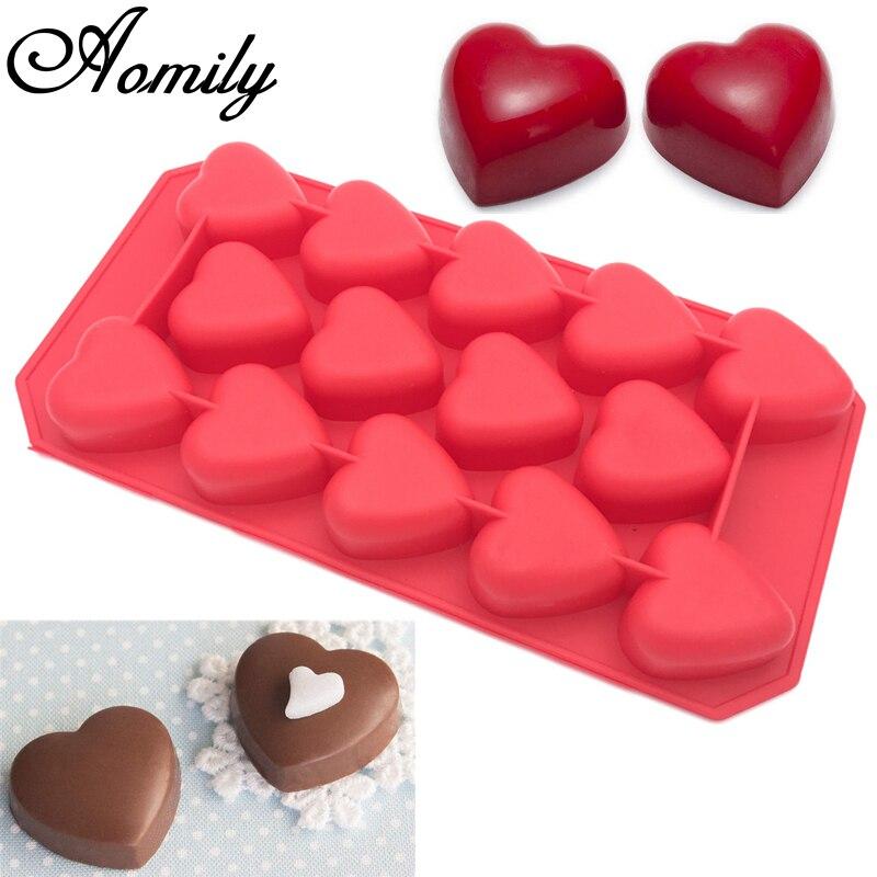 Aomily 14 buracos romântico coração em forma de bolo de chocolate 3d molde bakeware silicone artesanal pop doce pudim muffin icecream molde