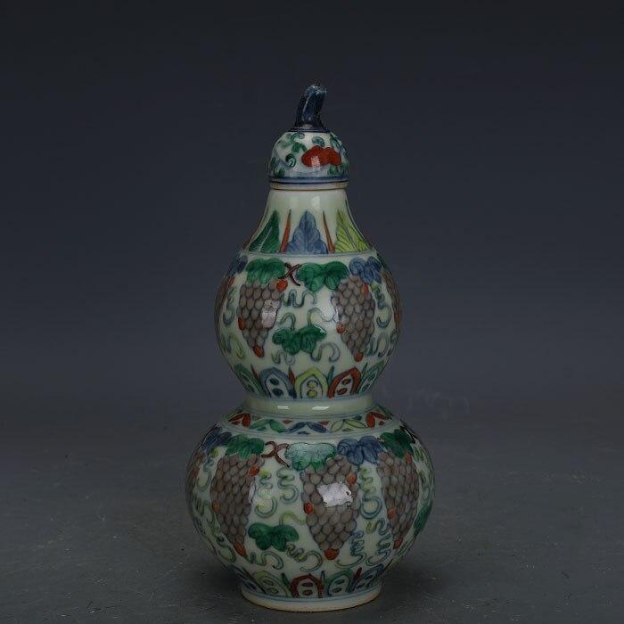 Antigua botella de calabaza de porcelana de uva MingDynasty, colección de decoración para el hogar y adornment1903