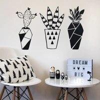 Autocollant mural geometrique en vinyle  Cactus  Simple  a la mode  decoration de la maison  salon  chambre a coucher  peintures murales dart  JG2758