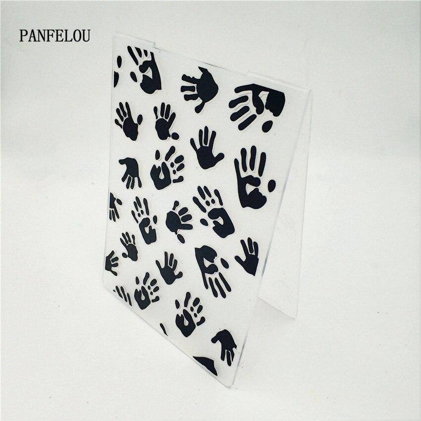 PANFELOU palma de tu mano impresa en relieve carpetas de plástico para Scrapbooking DIY plantilla Fondant pastel foto álbum tarjeta
