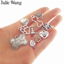 Julie Wang 10 pièces mixte os chien empreintes coeur breloques Antique argent couleur alliage collier pendentifs accessoire de fabrication de bijoux