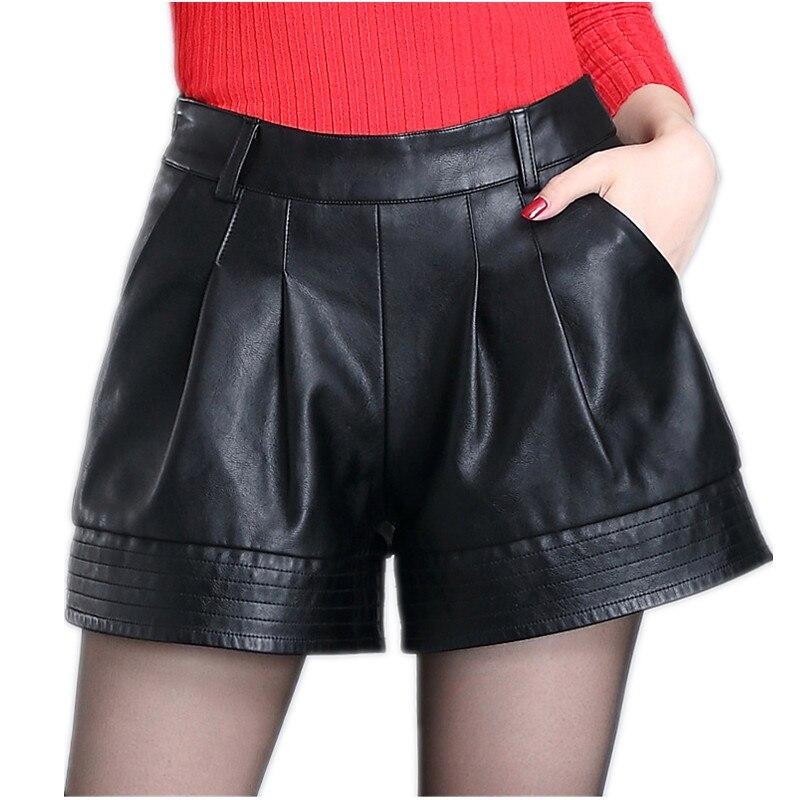 Cintura alta shorts de couro feminino 2020 outono moda plutônio leathe mosaico senhoras magro preto leatherwear perna larga super shorts meninas
