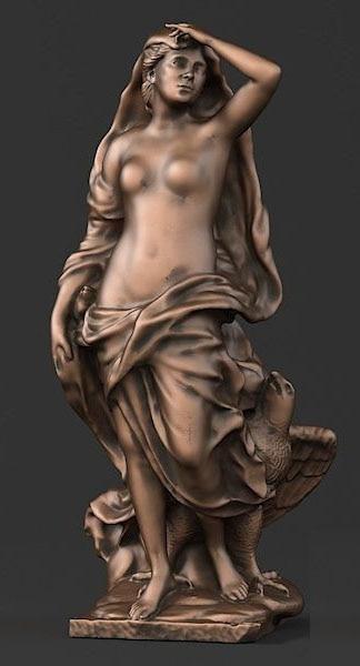 3D modell erleichterung für cnc router carving gravur in STL format datei frau und adler