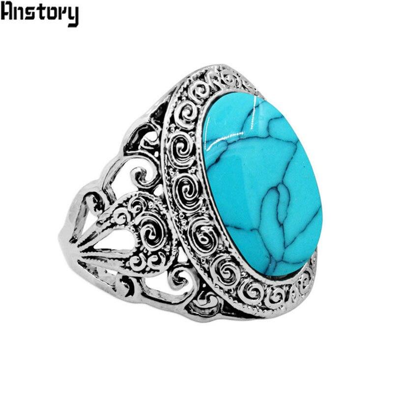 Caracol de Piedra Oval Anillos de La Flor Para Las Mujeres Apariencia Vintage Plateado Plata Antigua de la Joyería de Moda