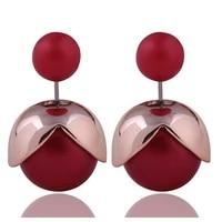 2016 new classic matt petal double sides big pearl stud earrings unique design double balls beads earrings for women brincos