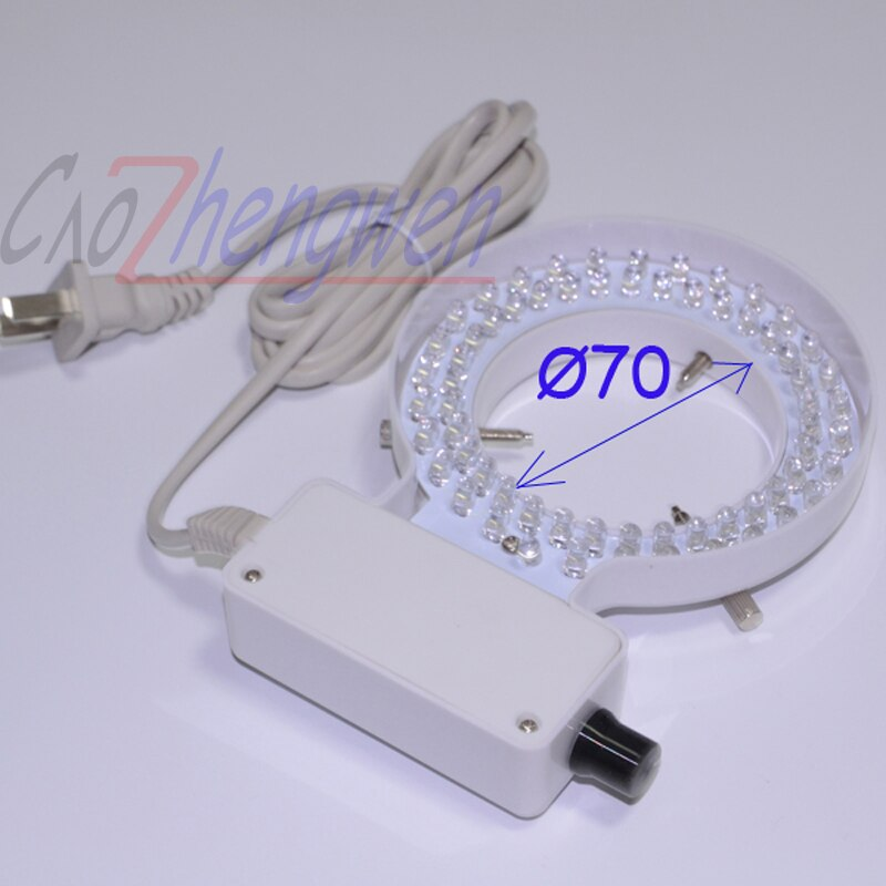 FYSCOPE 70mm diámetro interior Anillo blanco luz 64 Uds LED Anillo blanco lámpara con adaptador para microscopio ESTÉREO