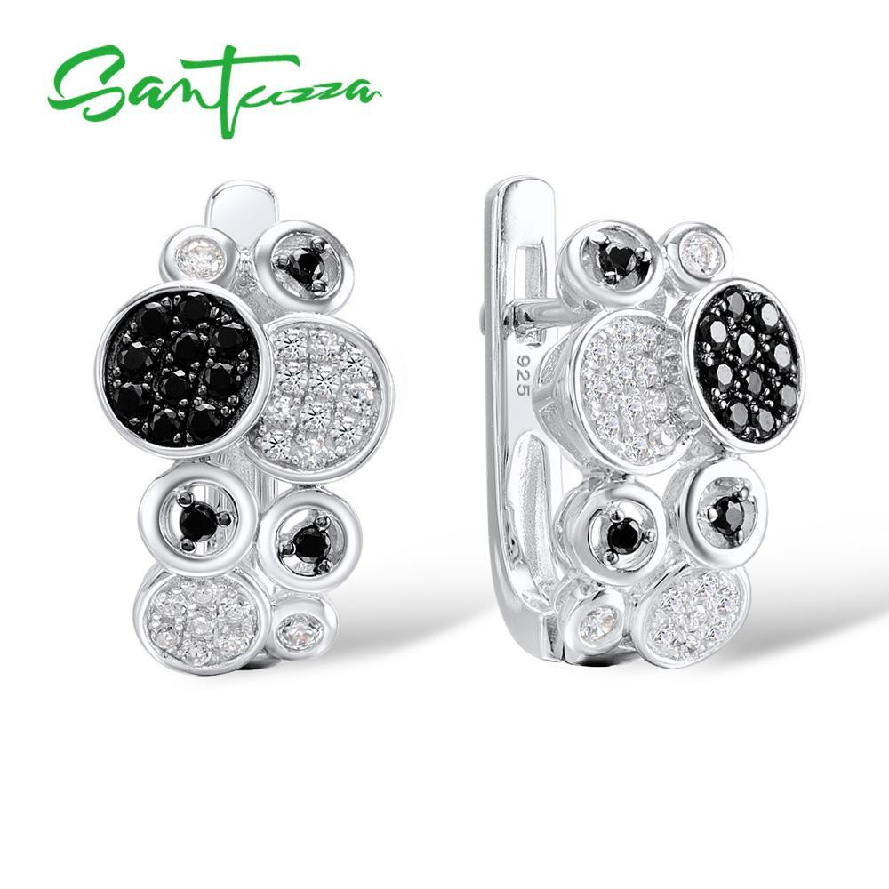 SANTUZZA Silver Earrings For Women Pure 925 Sterling Silver Round Black Spinel White CZ Dainty Trendy Stud Earrings Fine Jewelry
