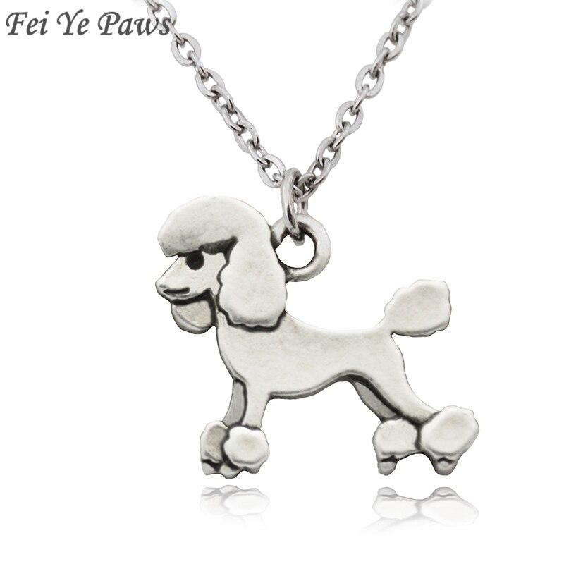 Fei ye patas do vintage poodle cão encantos declaração colar pingente animal para as mulheres jóias presentes para animais de estimação aço inoxidável corrente longa