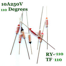 RY 10 stks/partij Nieuwe Micro thermische zekering 10A250V 110 Graden Tf 110 C Mini temp zekering metalen shell Thermische Cutoff RY-110 RY110