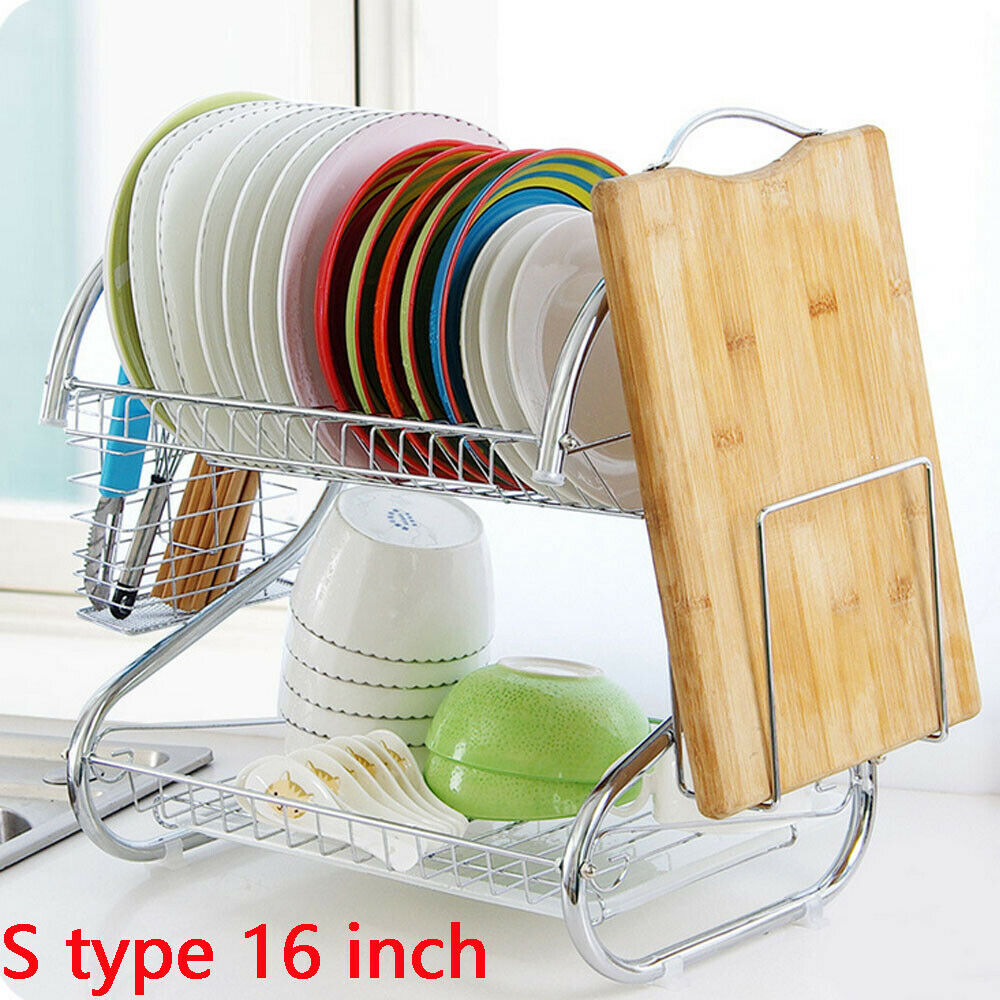 1PC Kitchen Dish Cup Drying Rack Holder Over Sink Bowl Shelf Organizer Nonslip Cutlery Holder Drainer Dryer Stainless Steel