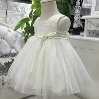 free shipping cotton lining lace top infant dresses 2019 last style ivory baby dress 1 year birthday toddler girl christing gown