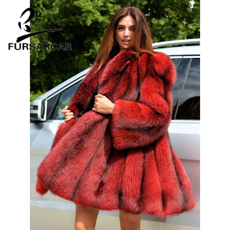 FURSARCAR 2021 الفاخرة الطبيعية ريال فوكس الفراء المرأة معطف طويل بدوره إلى أسفل طوق معطف الشتاء الإناث جديد الأحمر حجم كبير الفراء سترة