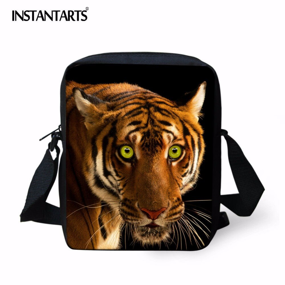 Mini bolsa de mensajero instantánea con estampado de tigre en 3D, bolso cruzado informal para mujer, bolso escolar pequeño a la moda para niños, estudiantes de preescolar
