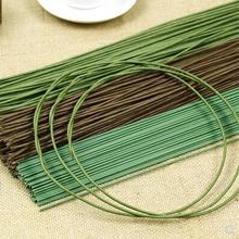Papier couleur vert/café 2mm * 40cm/2mm * 60cm de long   Avec tige de fleurs artificielles en fil de fer, lot de 10
