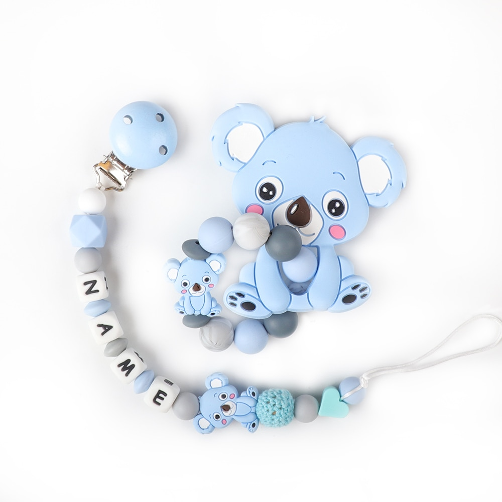 Baby Teether Bracelet Food Grade Silicone Chews Nurse Gift Toys Koala Teething Necklace pacifier clip with name DIY BABY custom