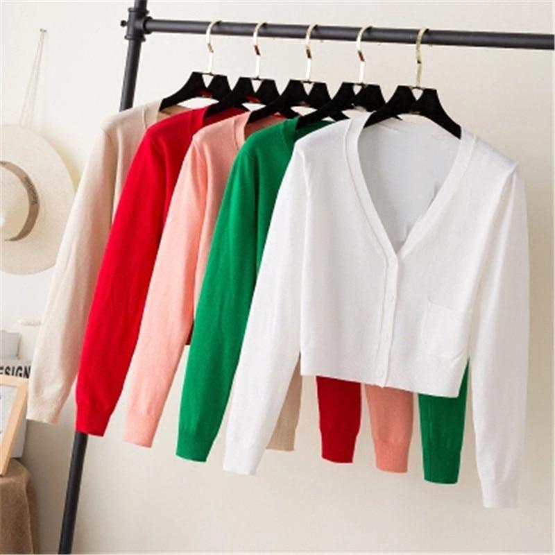 Ladies Short Cardigan V Neck Long Sleeve Cotton Cropped Cardigan Sweaters Thin Coat feminino Spring Knitwear for Women