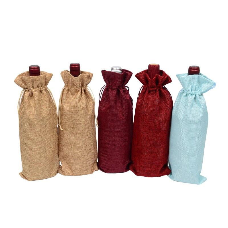 "500 Uds de yute para botellas de vino cubre bolsas de champán línea cordón bolsa de arpillera de vino tinto 5,91 ""x 13,78"" Regalo aceite de oliva embalaje de joyería"