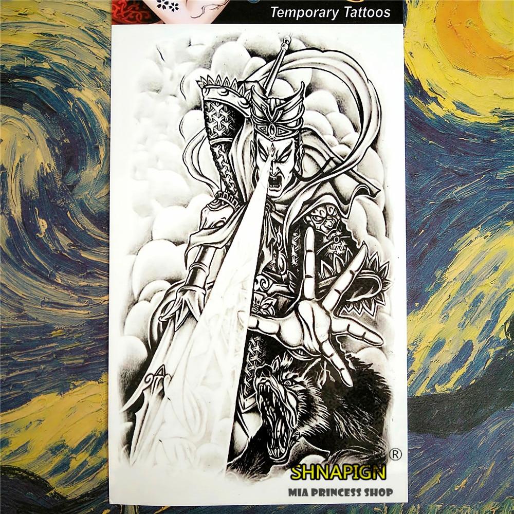 SHNAPIGN tatuaje temporal de mitología china, arte corporal, 12*20cm pegatinas de tatuaje instantáneo, pegatina de pared de Henna Tatuaje falso impermeable