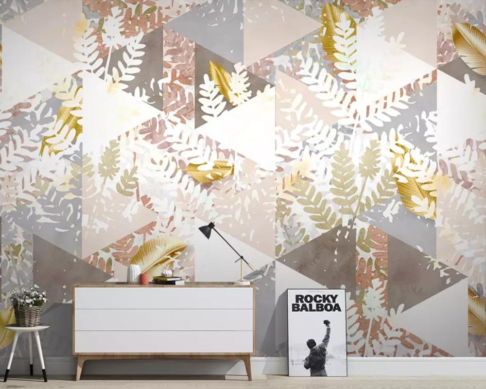 Papel tapiz 3d de planta tropical moderna con hojas doradas, papel de pared, sofá sala de estar, pared de TV, dormitorio, cocina, cafetería, bar, Mural personalizado