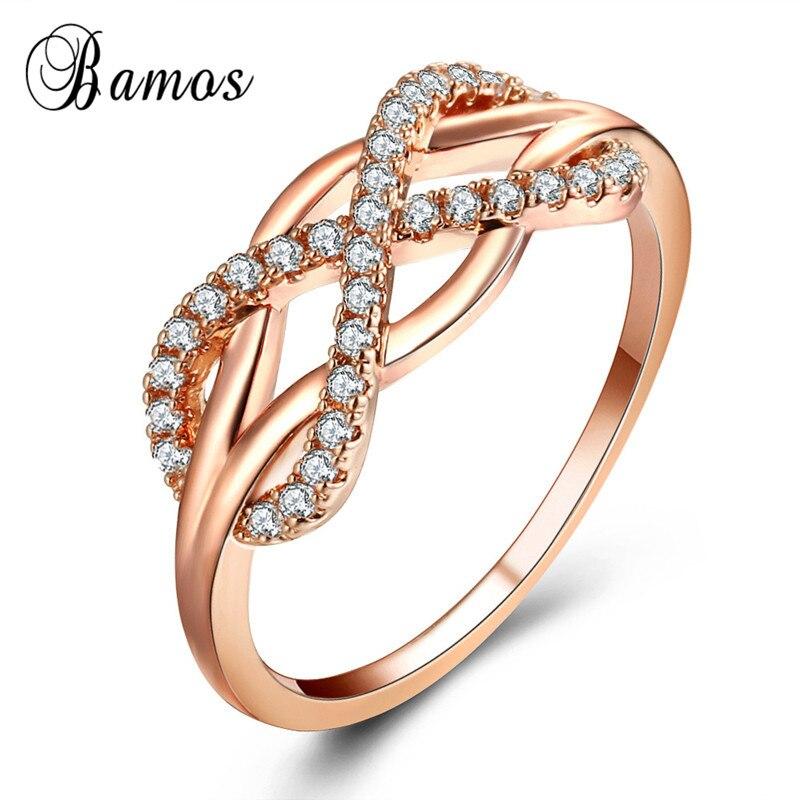 Bamos Simple Infinity anillo de compromiso blanco Cubic Zirconia anillos de boda para promesa para mujeres de moda oro rosa lleno de joyería