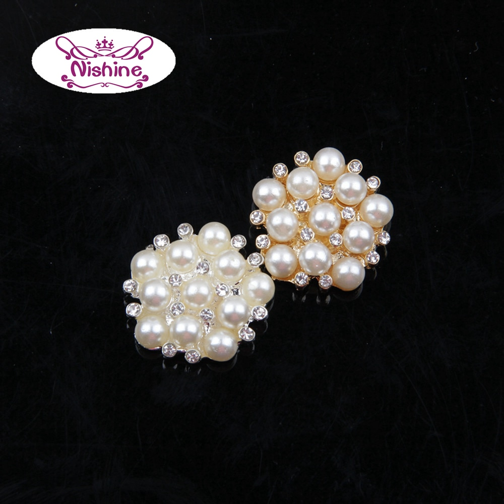 Nishine plana de aleación perla de imitación botón de oro de diamantes de imitación de plata botón joya boda Bridals de adorno accesorio del pelo