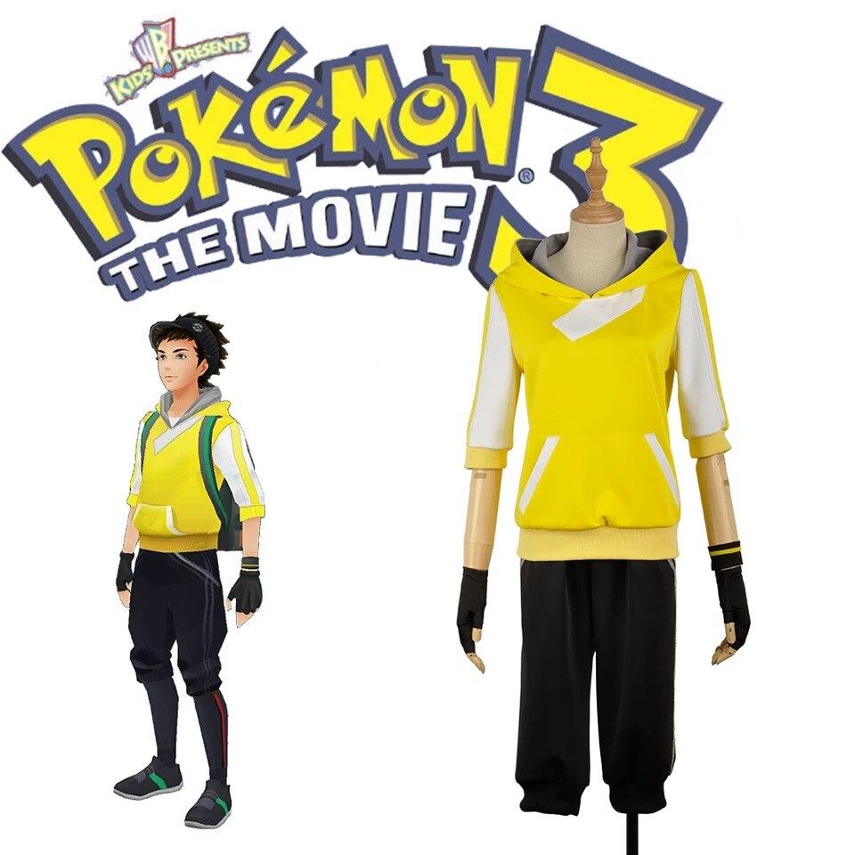 Juego móvil Pokemon Go versión amarilla uniforme de entrenador Cosplay traje pantalones cortos + sombrero + guantes Halloween hombres envío gratis personalizado.