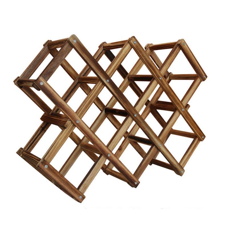 New Solid Wood Folding Wine Racks High Quality Foldable Wine Stand Wooden Wine Holder 10 Bottles Kitchen Bar Display Shelf