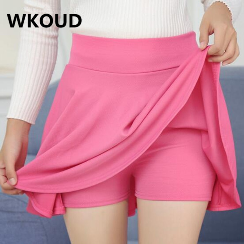 WKOUD Oversized Women's Skirt Solid Pleated Skirts With Safe Shorts Inside Tutu School Skirts High Waist A-line Skirt DK8001