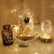 Zilver Draad 1M 2M Led String Light Fairy Guirlande Lamp Led String Lights Kerst Bruiloft Home Party Decoratie