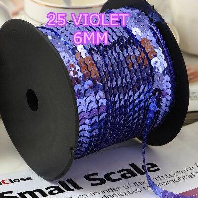 Ribete de lentejuelas redondas de 6mm de 100 yardas, vendido por paquete de 1 rollo (100 yardas) -Cinta de lentejuelas violeta para artesanías