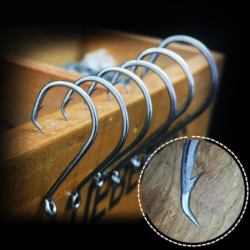 10PCS Circle Fishing Hook Chemically Sharpened Black Nickel Color Eagle mouth Crank Single Fishing Hook Carp FIshing tackle