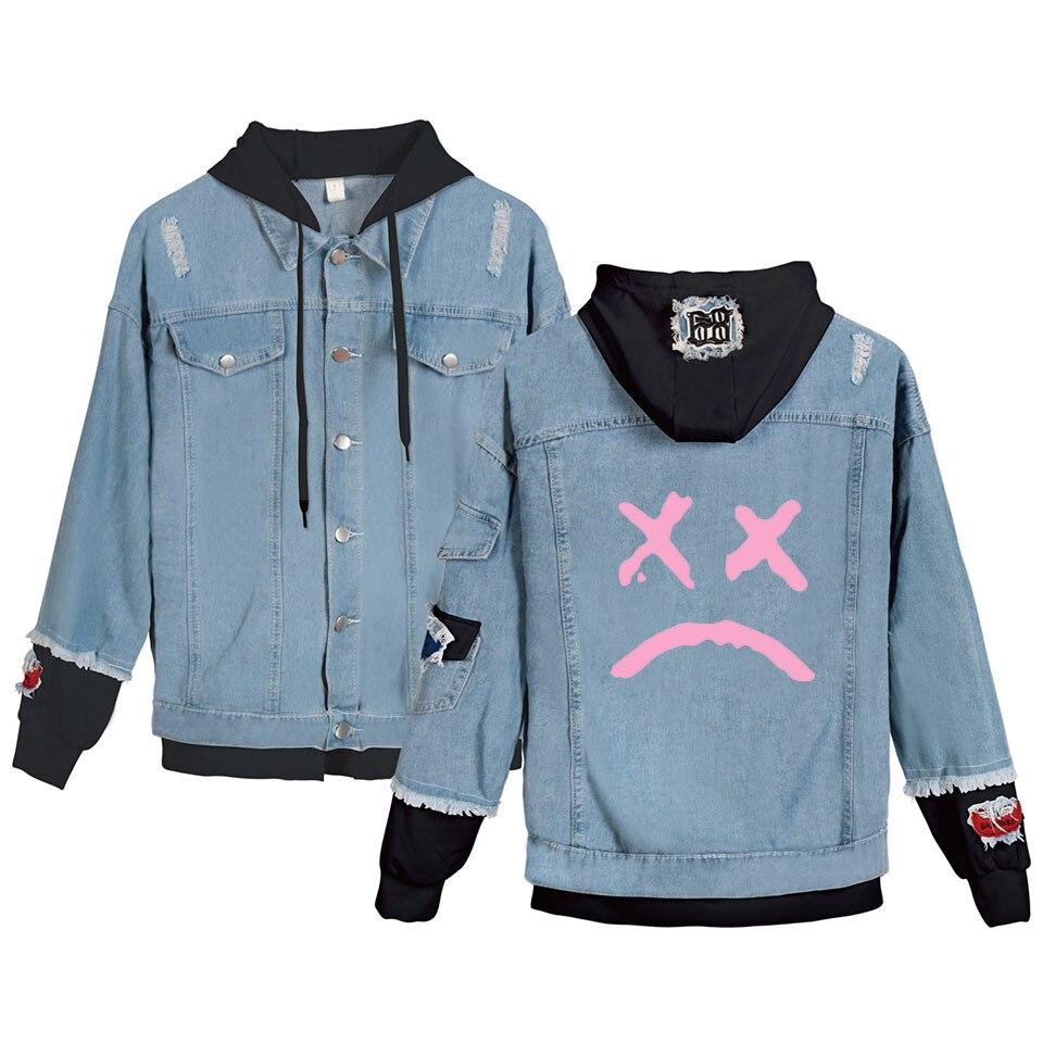 XXXTentacion Women Denim Jacket Girls Casual Ripped Hole Jeans Coat Female Plus Size Hooded Outerwear Spring Autumn Jackets
