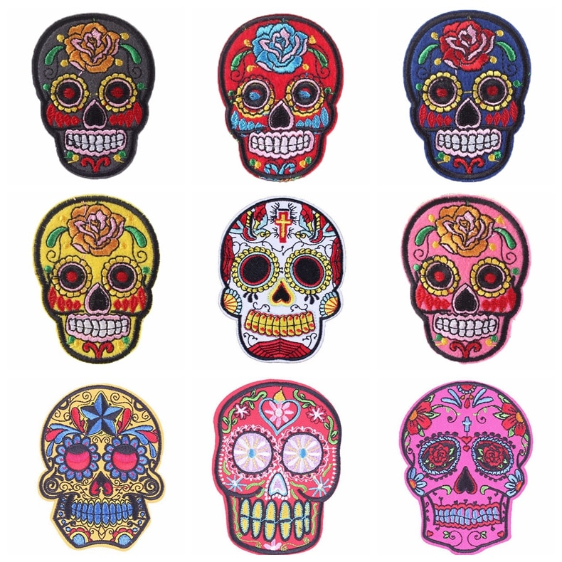 Pulaqi Skull Embroidery Iron 3d Patches For Clothing Badge Jacket Patch Decor Jeans Patches Heat Transfers Sew On Punk Patches H