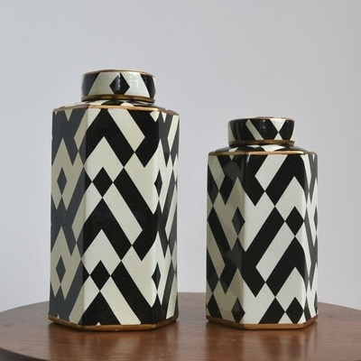 Maceta decorativa de seis fiestas de estilo europeo blanco y negro, adorno suave para sala de estar o comedor, jarrón de porcelana de cerámica