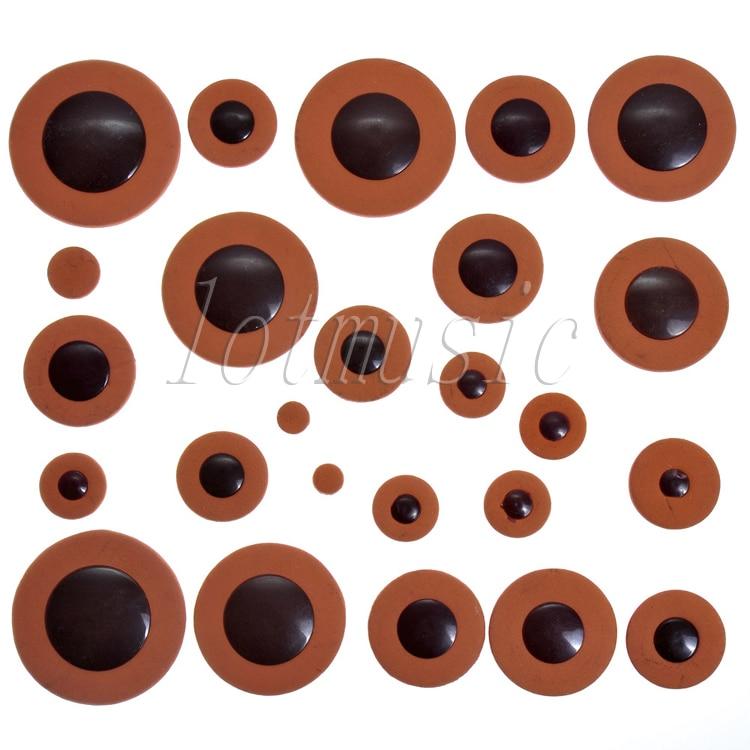 Conjunto de Luxo Laranja Saxofone Alto Woodwind 25 Peças Substituição Almofadas Couro Tamanho 1