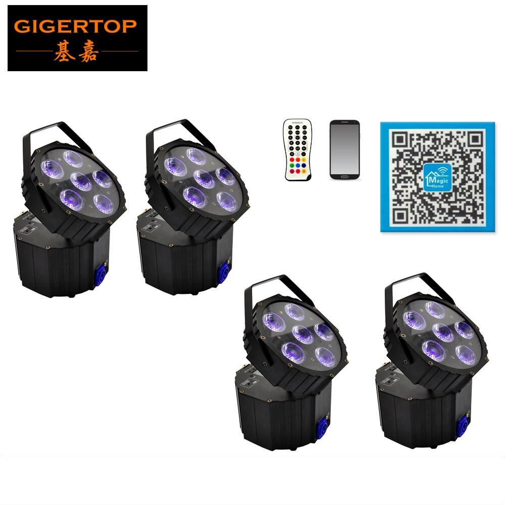 Freeshipping 4 Unit 6X18W Events uplighting smart DJ Battery Powered Wireless Wedding Uplight lights RGBWA UV Led Screen Display