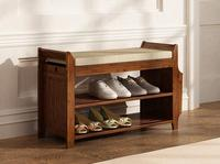 טבעי במבוק נעל מתלה כניסה נעל אחסון ביתי מדף נעל ספסל עם כרית חיים חדר שינה חדר אחסון ארגונית