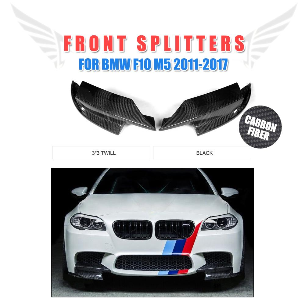 Fibra de carbono parachoques delantero Splitters de labio delantales Spoiler para BMW 5 Series F10 M5 2011-2017 2 unids/set Car Styling