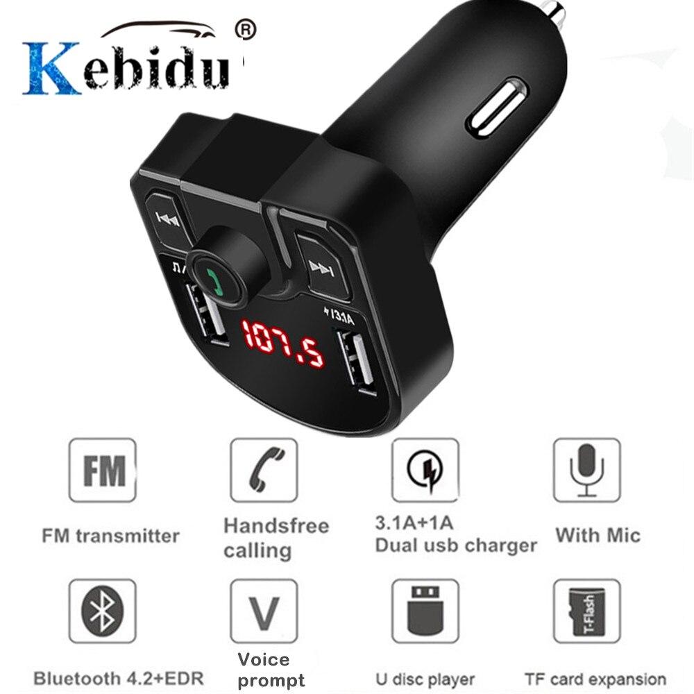 Kit de reproductor MP3 Bluetooth 4,2, transmisor FM manos libres para coche, compatible con tarjeta TF, U disk QC2.0 3.1A, Cargador USB Dual rápido, adaptador de corriente