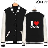 i love cats couple clothes man boys full zip autumn winter fleece baseball jackets ziiart