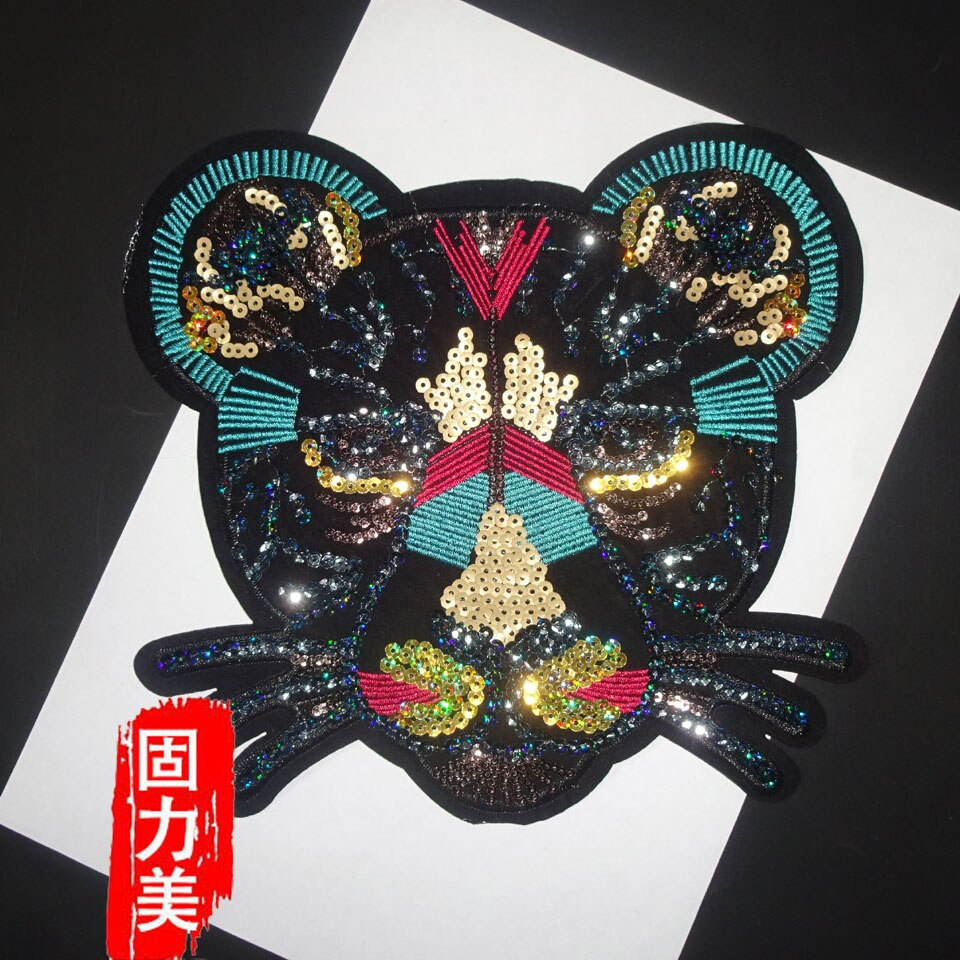 2019 NEW! 10PC big tiger lion leopard head sequins iron on patch 23.5*22.5cm
